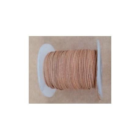 Rollo 25 mts. Cordón Cuero Importación 1 mm. NATURAL. Ref 22138