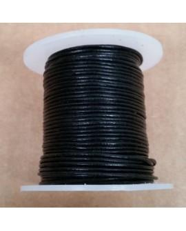 Rollo 25 mts. Cordón Cuero Importación 1 mm. NEGRO. Ref 22139