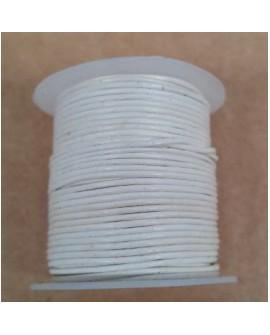 Rollo 25 mts. Cordón Cuero Importación 1 mm. BLANCO. Ref 22141