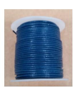 Rollo 25 mts. Cordón Cuero Importación 1 mm. AZUL. Ref 22143