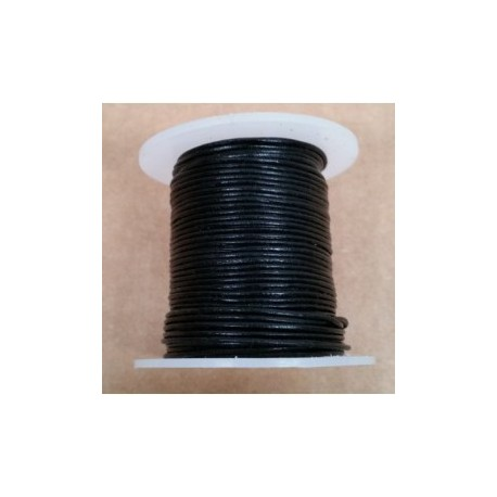 Rollo 25 mts. Cordón Cuero Importación 1,5 mm. NEGRO. Ref 22158