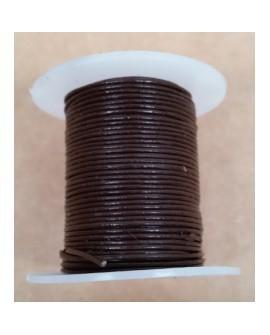 Rollo 25 mts. Cordón Cuero Importación 1,5 mm. MARRÓN OSCURO. Ref 22159