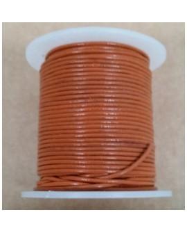 Rollo 25 mts. Cordón Cuero Importación 1,5 mm. NARANJA. Ref 22168