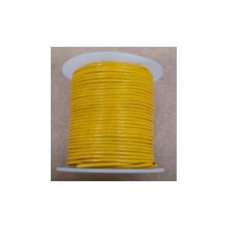 Rollo 25 mts. Cordón Cuero Importación 1,5 mm. AMARILLO. Ref 22169