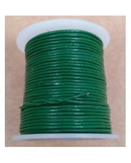 Rollo 25 mts. Cordón Cuero Importación 1,5 mm. VERDE. Ref 22171