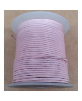Rollo 25 mts. Cordón Cuero Importación 1,5 mm. ROSA PALO. Ref 22173
