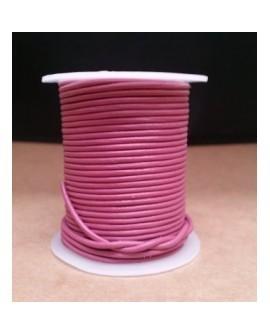 Rollo 25 mts. Cordón Cuero Importación 2 mm. ROSA. Ref 22186