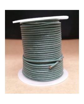 Rollo 25 mts. Cordón Cuero Importación 2 mm. GRIS VERDOSO. Ref 22194