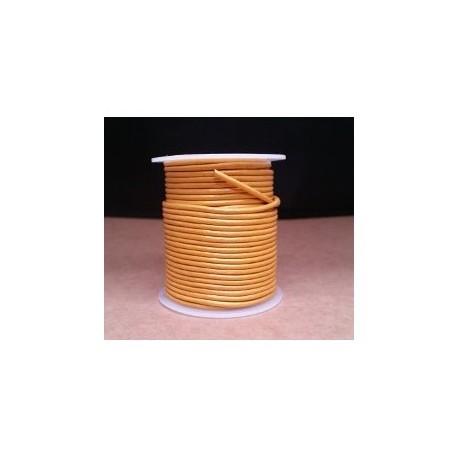 Rollo 25 mts. Cordón Cuero Importación 2 mm. DORADO. Ref 22195