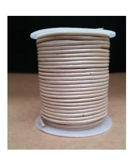 Rollo 25 mts. Cordón Cuero Importación 2 mm. PLATA NACARADA. Ref 22196