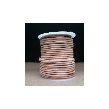 Rollo 25 mts. Cordón Cuero Importación 2,5 mm. NATURAL. Ref 22197