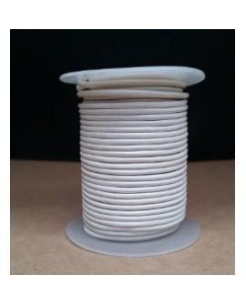 Rollo 25 mts. Cordón Cuero Importación 2,5 mm. BLANCO. Ref 22200