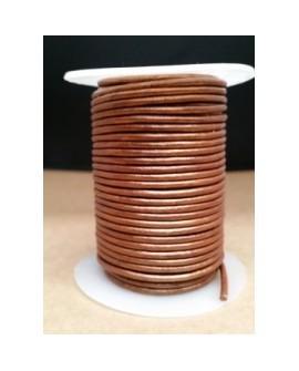 Rollo 25 mts. Cordón Cuero Importación 2,5 mm. COBRE. Ref 22202