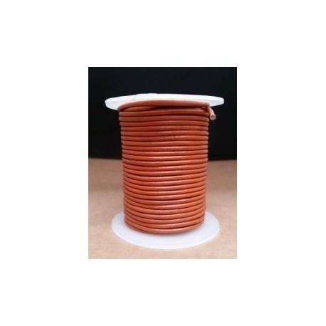 Rollo 25 mts. Cordón Cuero Importación 2,5 mm. NARANJA. Ref 22208