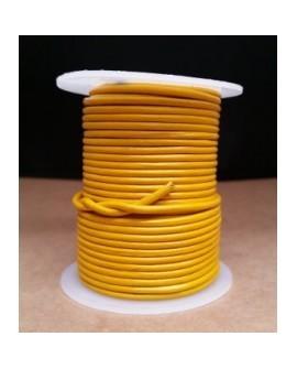 Rollo 25 mts. Cordón Cuero Importación 2,5 mm. AMARILLO. Ref 22209
