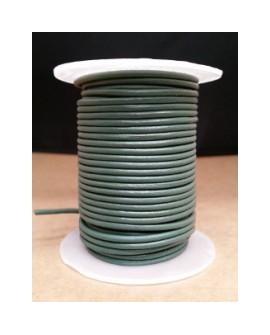 Rollo 25 mts. Cordón Cuero Importación 2,5 mm. GRIS VERDOSO. Ref 22214