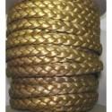 Tireta Piel Trenzada Plana 10mm 3 Cabos. Oro