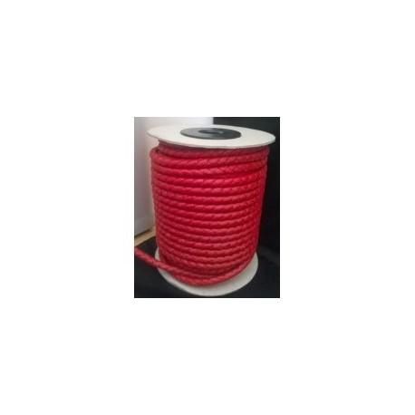Tireta Piel Trenzada Redonda 5mm 4 Cabos. Rojo