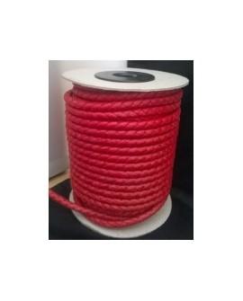 Tireta Piel Trenzada Redonda 4mm 4 Cabos. Plata Rojo