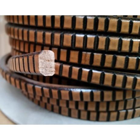 Cordón Cuero Ovalado 10 x  6 mm. FRESADO VIEJO NATURAL. Por metro. Ref 22050