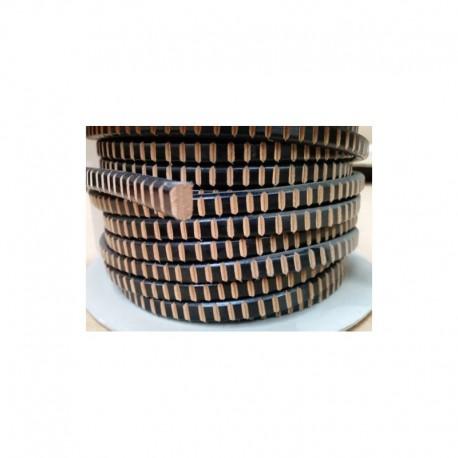 Cordón Cuero Ovalado 10 x  6 mm. FRESADO NEGRO. Por metro. Ref 22049
