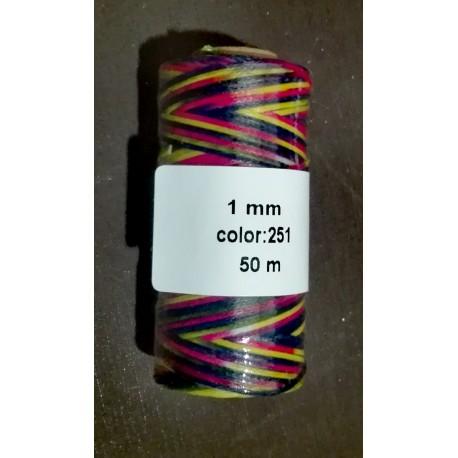 Bobina Hilo Encerado Mini 1 mm 50 mt. Multicolor 251