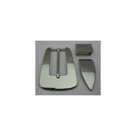 Hebilla Cinturón de 30 mm. + Puntera + Pasador Níquel