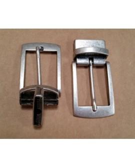 Hebilla para Cinturón Reversible 30 mm. Plata Vieja con Grapa