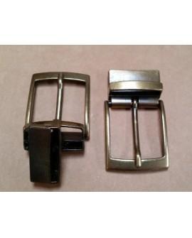 Hebilla para Cinturón Reversible 35 mm. Oro Viejo con Grapa