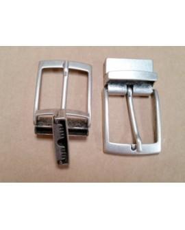 Hebilla para Cinturón Reversible 35 mm. Plata Vieja con Grapa