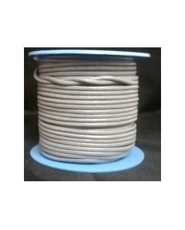 Rollo 25 mts. Cordón Cuero Nacional 3 mm. GRIS CLARO. Ref 20820