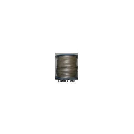 Rollo 25 mts. Cordón Cuero Nacional 3 mm. ESPECIAL PLATA CLARA. Ref 20843