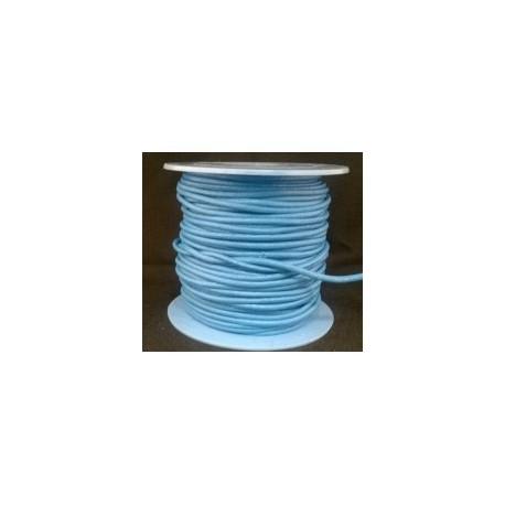 Rollo 25 mts. Cordón Cuero Nacional 3,5 mm. CELESTE. Ref 20851