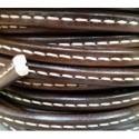 Cordón Cuero Ovalado 10 mm. MARRÓN OSCURO. Por metro. Ref 21054