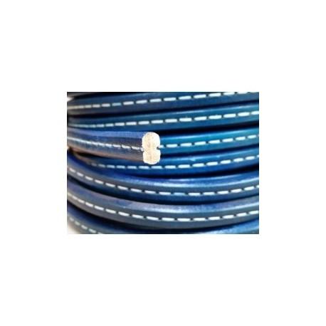 Cordón Cuero Ovalado 10  mm. AZUL. Por metro. Ref 21055