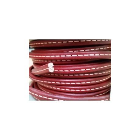 Cordón Cuero Ovalado 10 mm. ROJO. Por metro. Ref 21056