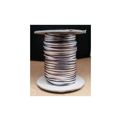 Tireta Plana Piel Metalizada 3,5 mm. ARGEN MET. Ref 21150